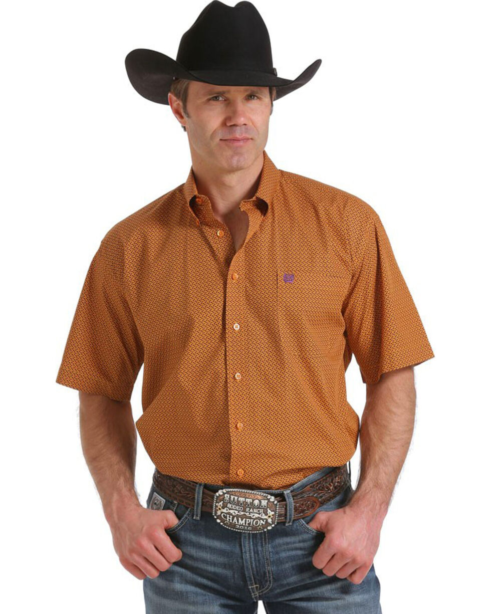 Cinch Men's Print Short Sleeve Shirt, Orange, hi-res