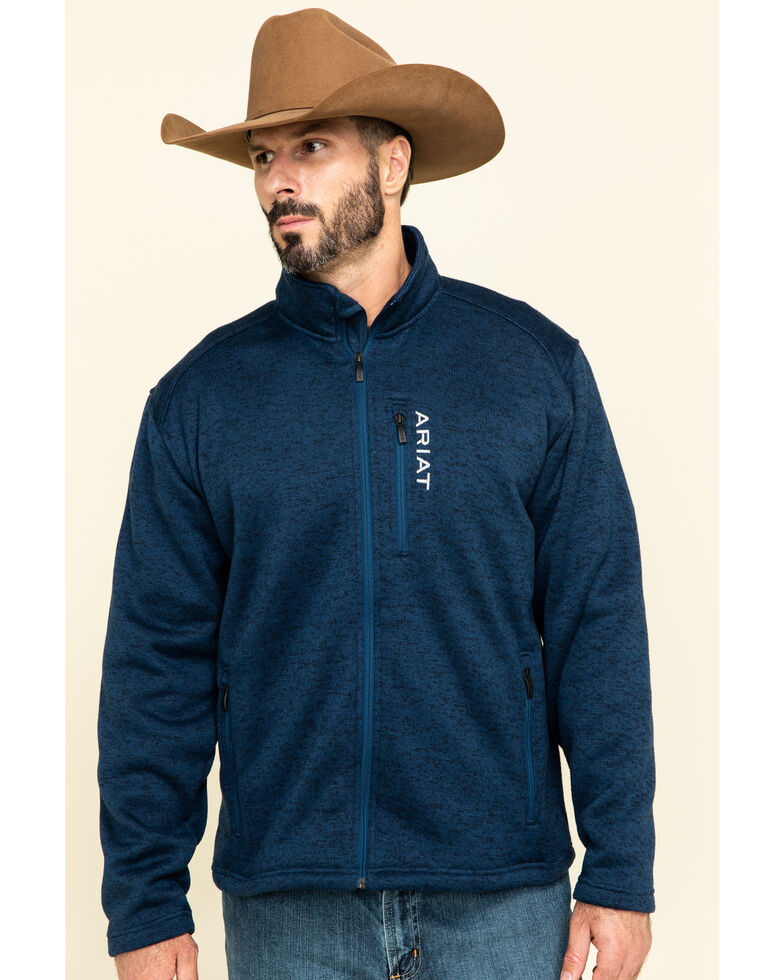 Ariat Men's Navy Caldwell Full Zip Sweater Jacket , Navy, hi-res