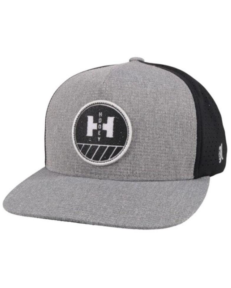 HOOey Men's Plow Logo Circle Patch Mesh Trucker Cap , Grey, hi-res