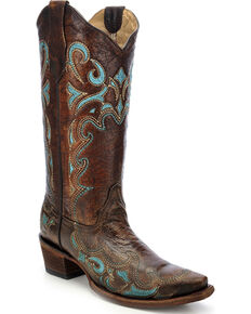 Circle G Women's Turquoise Side Embroidered Western Boots, Brown, hi-res