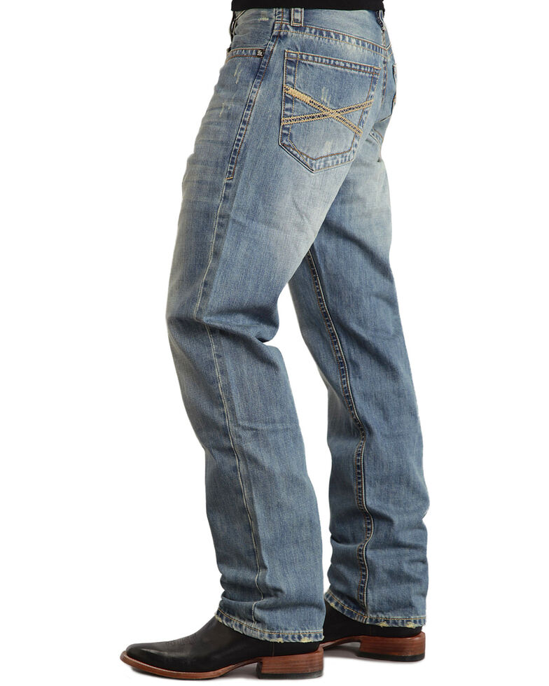 """Stetson 1520 Fit Classic """"X"""" Stitched Jeans, Med Wash, hi-res"""