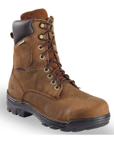 """Wolverine Men's Brown Durbin Waterproof 8"""" Work Boots - Steel Toe , Brown, hi-res"""