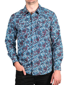 Cody James Men's Paisley Printed Long Sleeve Shirt, Blue, hi-res