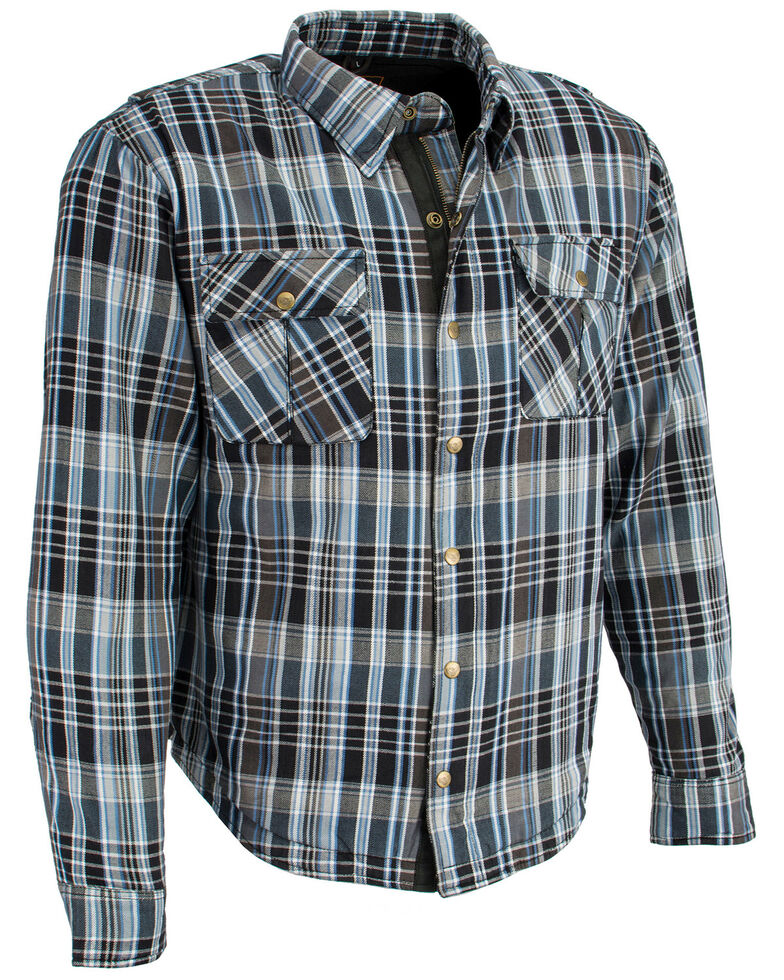 Milwaukee Performance Men's Aramid Reinforced Flannel Biker Shirt , Black/blue, hi-res