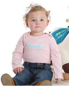 Wrangler Infant Girls' Pink Basic Logo Onesie , Pink, hi-res