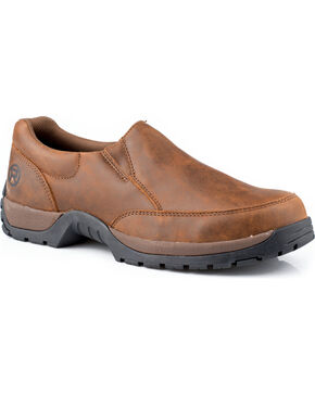Roper Men's Performance Slip-On Casual Shoes, Brown, hi-res