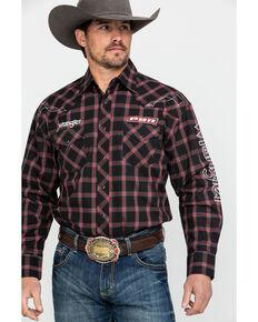 0f224564 Wrangler Men's PBR Logo Long Sleeve Western Shirt
