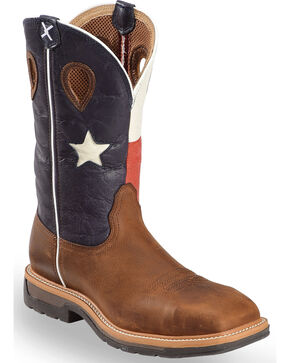 "Twisted X Men's 12"" Lite Cowboy Flag Steel Toe Work Boots, Brown, hi-res"