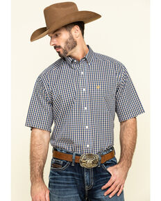 Ariat Men's Wrinkle Free Prattville Small Plaid Short Sleeve Western Shirt , Multi, hi-res