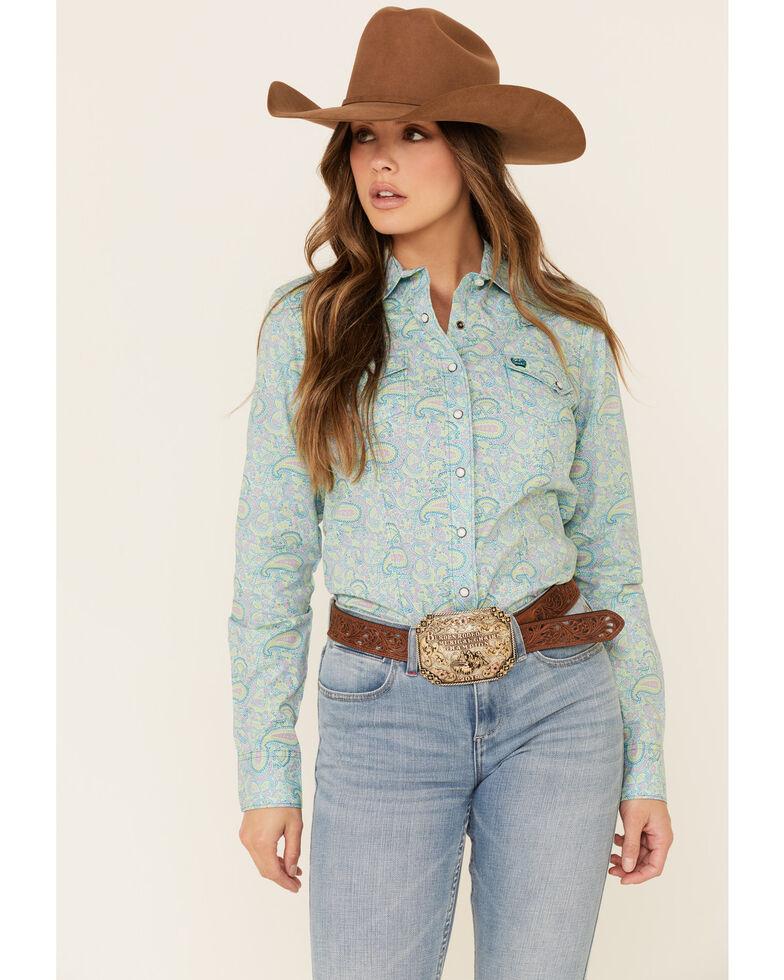 Cinch Women's Multi Paisley Print Snap Front Long Sleeve Western Shirt , Multi, hi-res