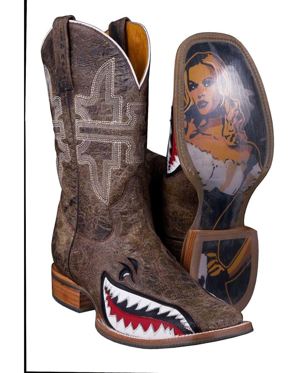 Tin Haul Men's Toastin' A Gnarly Shark Western Boots, Brn Bomber, hi-res