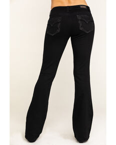Shyanne Women's Black Faux Flap Bling Bootcut Jeans, Black, hi-res