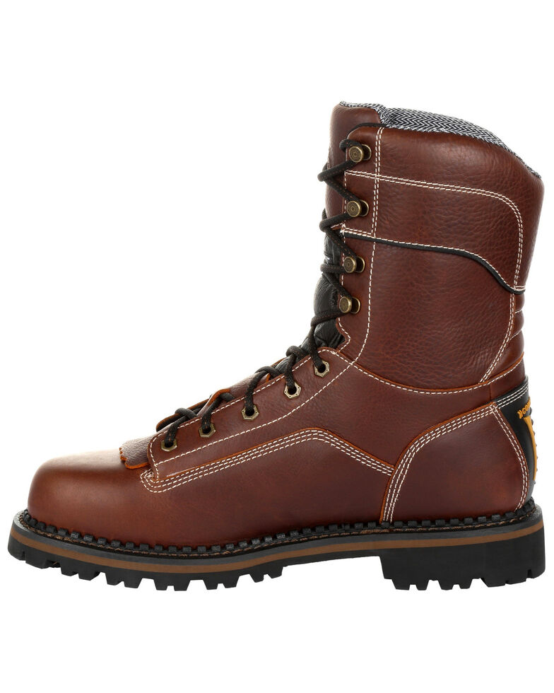 Georgia Boot Men's AMP LT Waterproof Insulated Logger Boots - Round Toe, Brown, hi-res