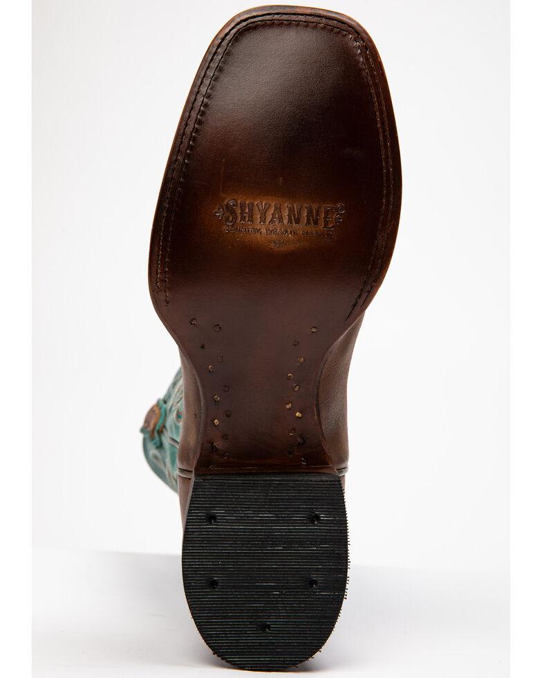 Shyanne Women's Blue Stryke Western Boots - Wide Square Toe, Brown/blue, hi-res
