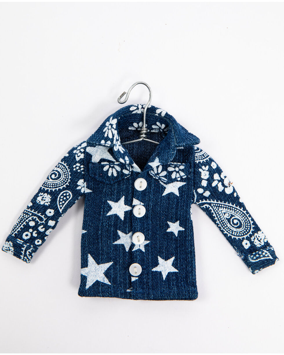 BB Ranch Denim Shirt Ornament, Blue, hi-res