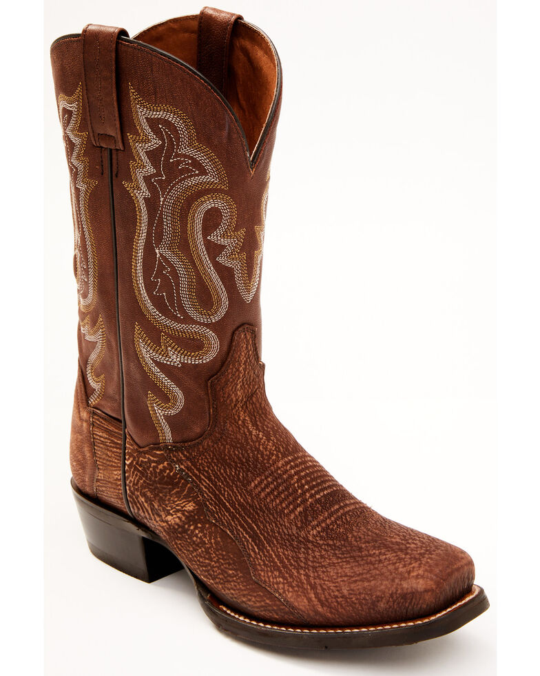 Dan Post Men's Exotic Shark Western Boots - Square Toe, Cognac, hi-res