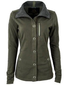 STS Ranchwear Women's Military Green Button Up Jacket - Plus, Green, hi-res