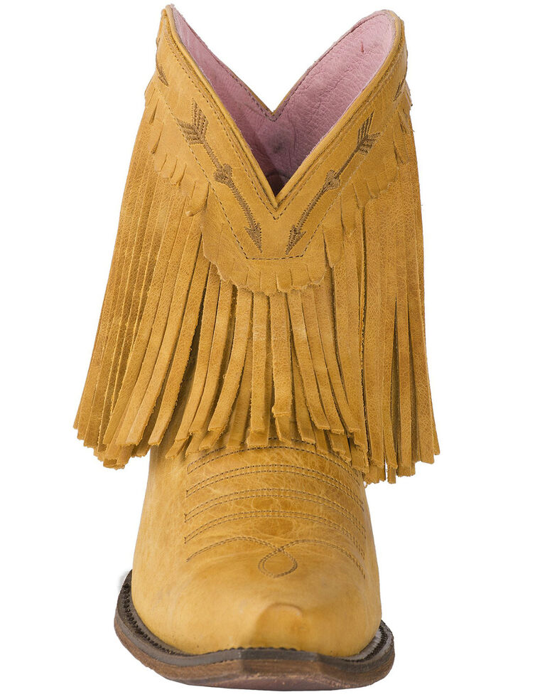 Junk Gypsy by Lane Women's Spitfire Mustard Fringe Booties - Snip Toe, Dark Yellow, hi-res