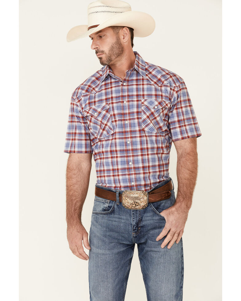 Rough Stock By Panhandle Men's Red Ombre Plaid Short Sleeve Snap Western Shirt , Red, hi-res