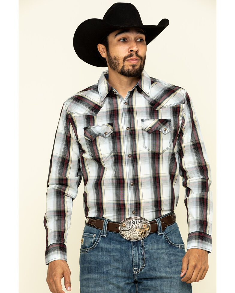 Moonshine Spirit Men's Liberty Large Plaid Long Sleeve Western Shirt , Maroon, hi-res
