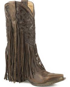 Stetson Women's Brown Sloane Fringe Boots - Snip Toe , Brown, hi-res
