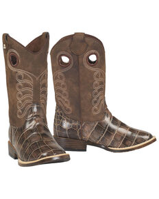 M&F Western Youth Boys' Travis Western Boots - Square Toe, Brown, hi-res