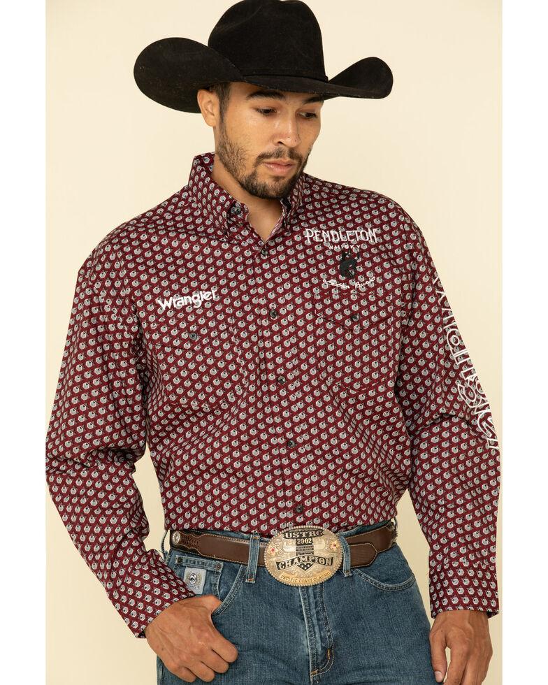Wrangler Men's Red Geo Print Pendleton Logo Long Sleeve Western Shirt , Red, hi-res