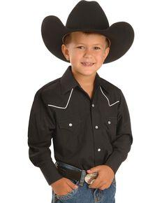 Ely Boys'  Western Shirt - 2-16, Black, hi-res