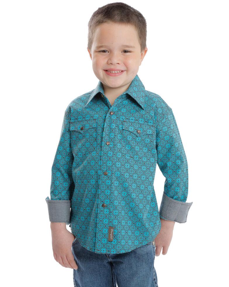 Wrangler Retro Boys' Multi Print Long Sleeve Western Shirt , Turquoise, hi-res