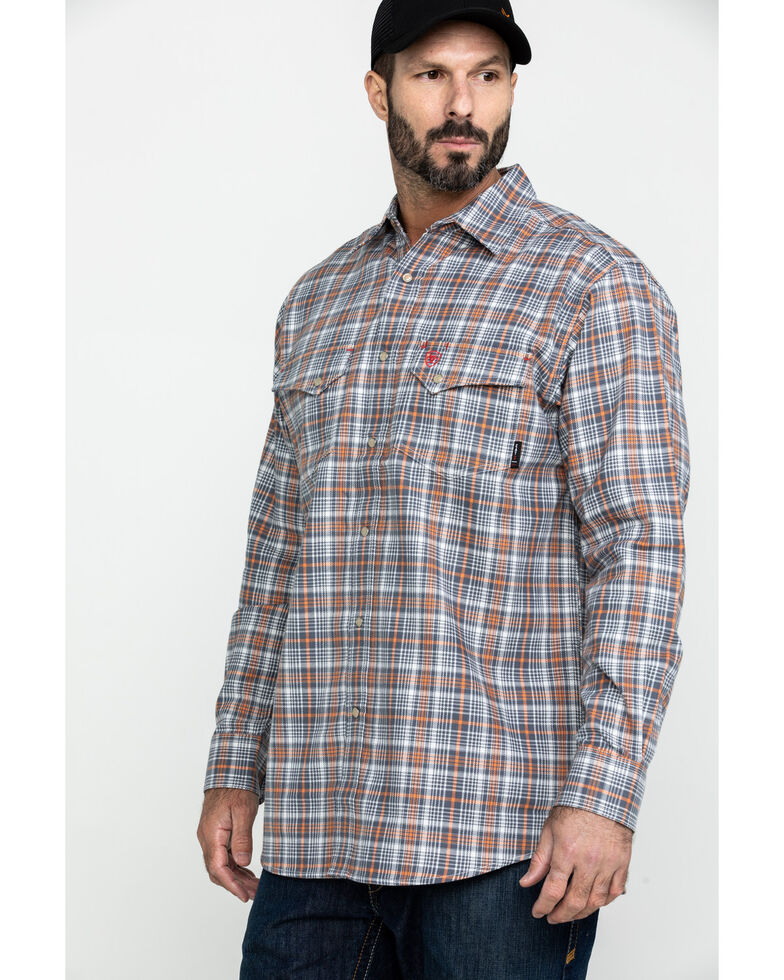 Ariat Men's Aimers FR Plaid Long Sleeve Work Shirt - Big , White, hi-res