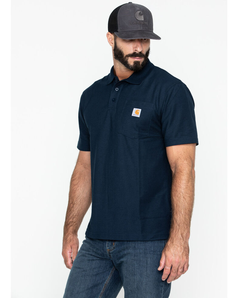 Carhartt Men's Contractors Pocket Short Sleeve Work Polo Shirt, Navy, hi-res