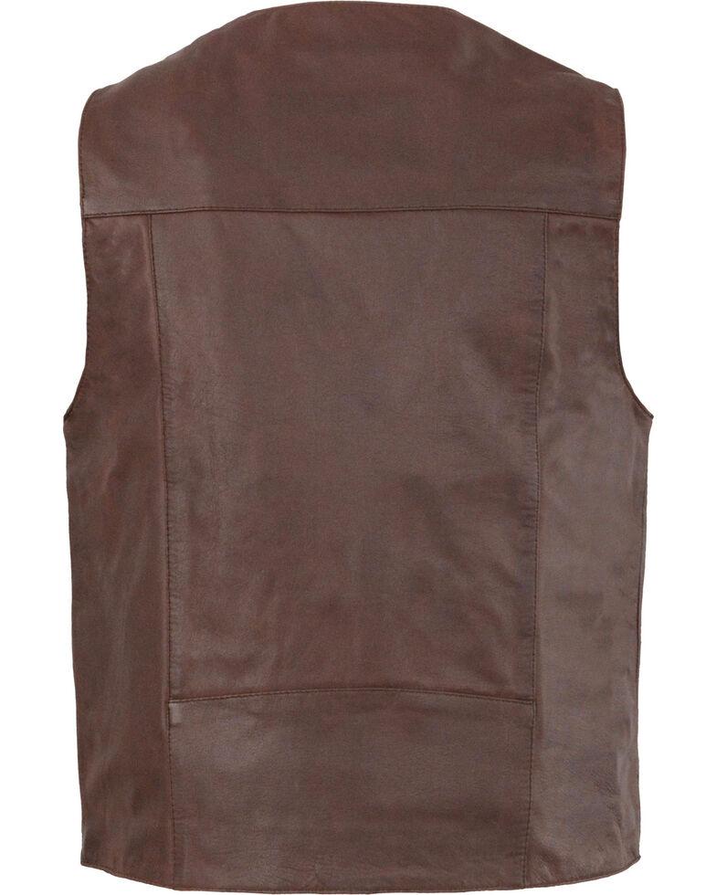 Milwaukee Leather Men's Western Plain Side Vest, Brown, hi-res