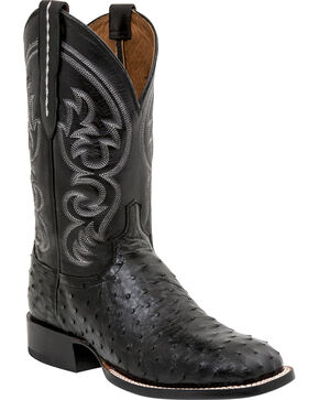 Lucchese Men's Josh Ostrich Exotic Boots, Black, hi-res