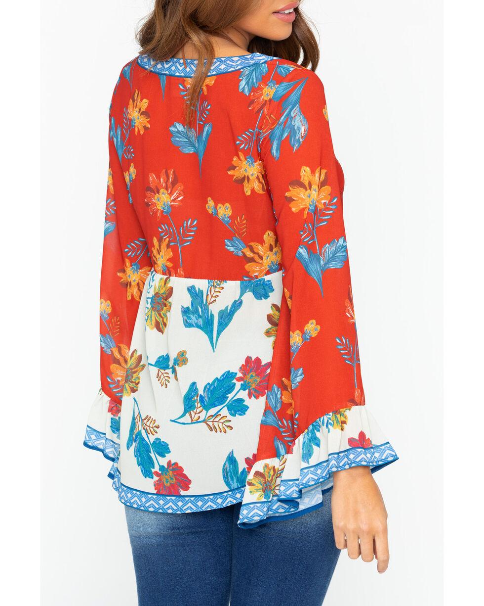 Flying Tomato Women's Floral Print Tassel Top, Rust Copper, hi-res