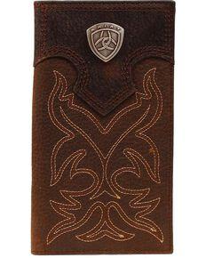 Ariat Men's Rodeo Bi-Fold Checkbook Wallet, Brown, hi-res