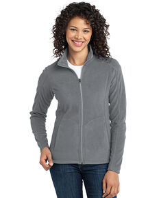 Port Authority Women's Pearl Grey 2x Micro Fleece Jacket - Plus, Grey, hi-res