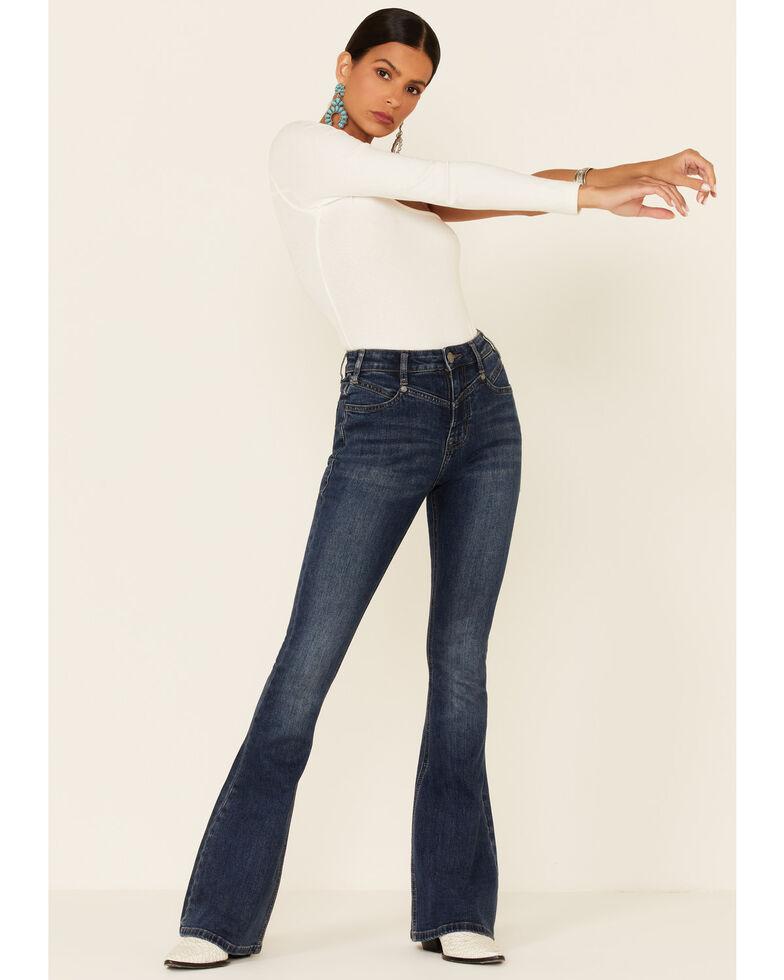 Panhandle Women's Medium Wash Western Yoke High Rise Flare Jeans , Blue, hi-res