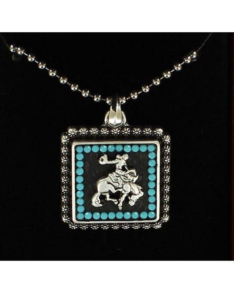 Lightning Ridge Bucking Bronco & Rider Beaded Edge Pendant Necklace, Silver, hi-res