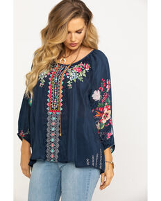 Johnny Was Women's Blue Night Sheera Blouse, Navy, hi-res