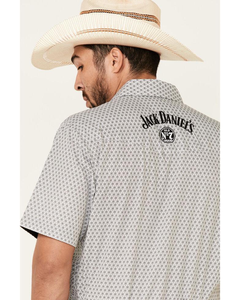 Jack Daniel's Men's White Geo Print Short Sleeve Western Shirt , White, hi-res