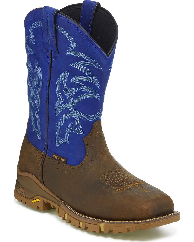 Tony Lama Men's Roustabout Blue Waterproof Western Work Boots - Steel Toe, Brown, hi-res