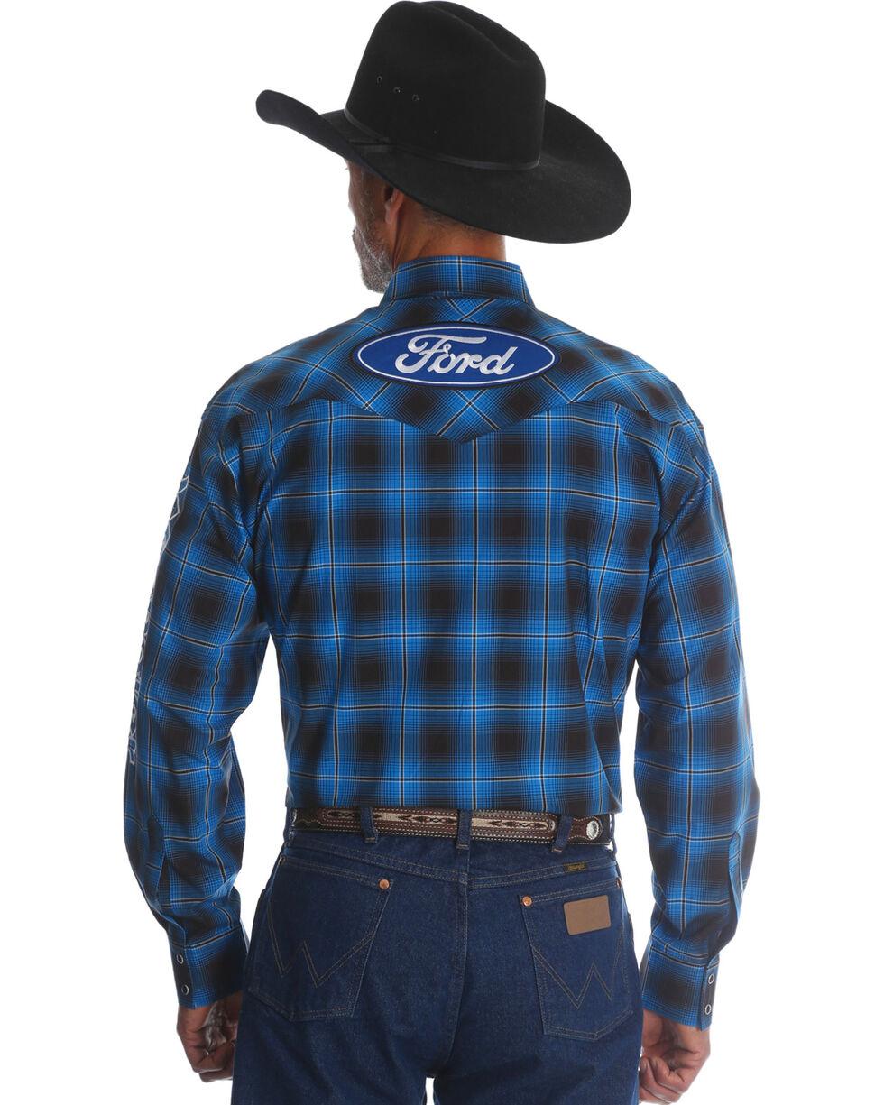Wrangler Men's Ford Plaid Western Logo Shirt, Blue, hi-res