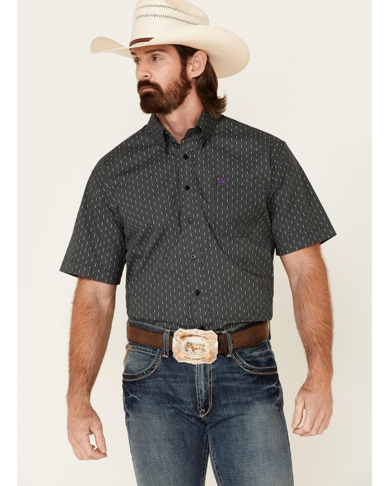 Cinch Men's Black Geo Print Button Short Sleeve Western Shirt , Black, hi-res