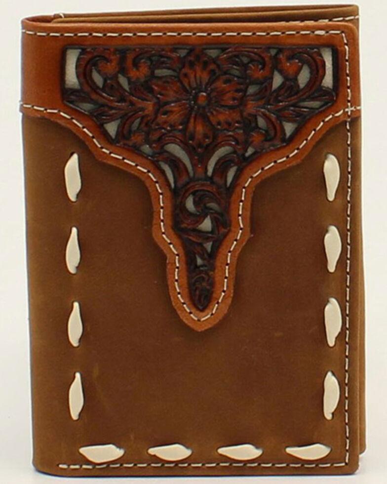 Ariat Men's Floral Tooled Overlay Trifold Wallet, No Color, hi-res