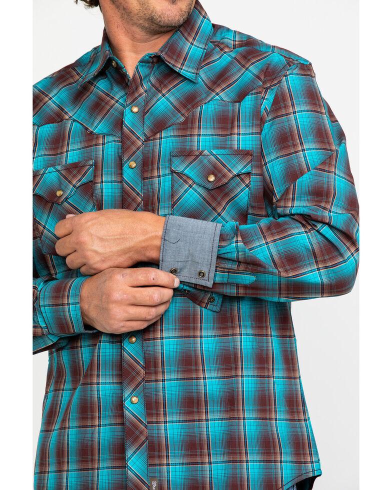 Wrangler Retro Men's Turquoise Plaid Long Sleeve Western Shirt  , Turquoise, hi-res