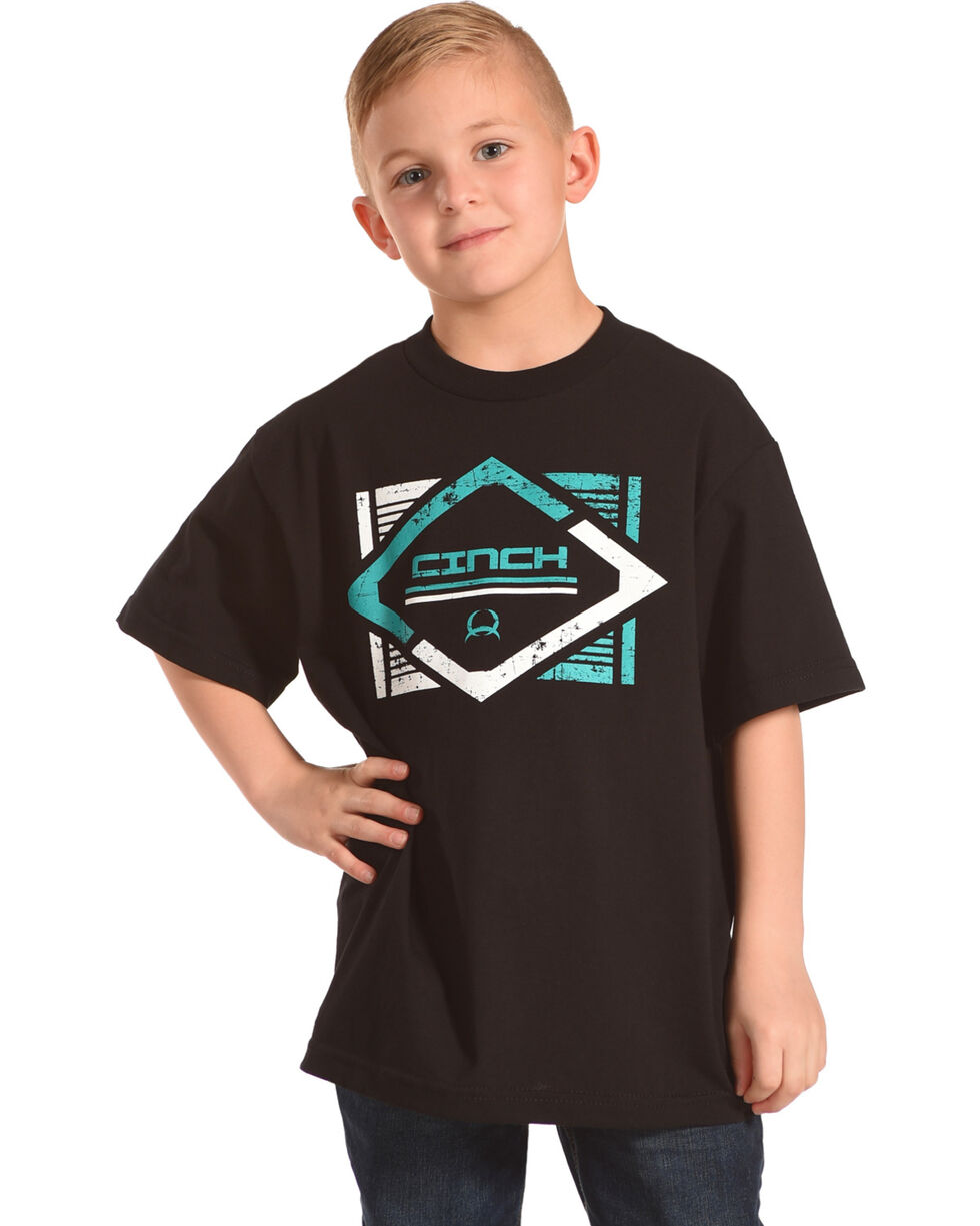 Cinch Boys' Black Diamond Graphic Tee , Black, hi-res