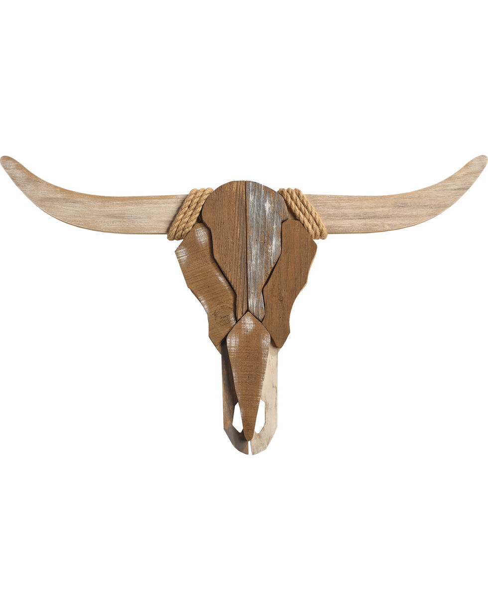 BB Ranch Wooden Longhorn Skull Wall Mount, No Color, hi-res