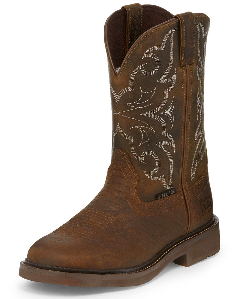 Justin Men S Stampede Western Work Boots Steel Toe