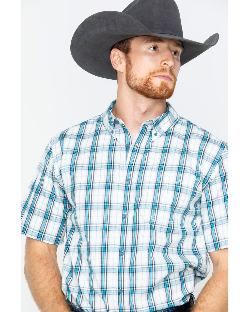 Gibson Men's Plaid Short Sleeve Button Down Shirt, Turquoise, hi-res
