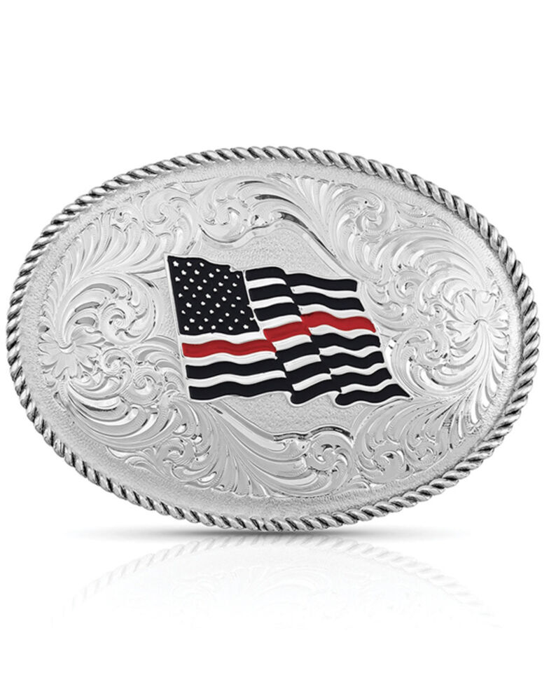 Montana Silversmiths Thin Red Line Flag Buckle, Silver, hi-res